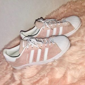 Adidas baby pink superstar sneakers